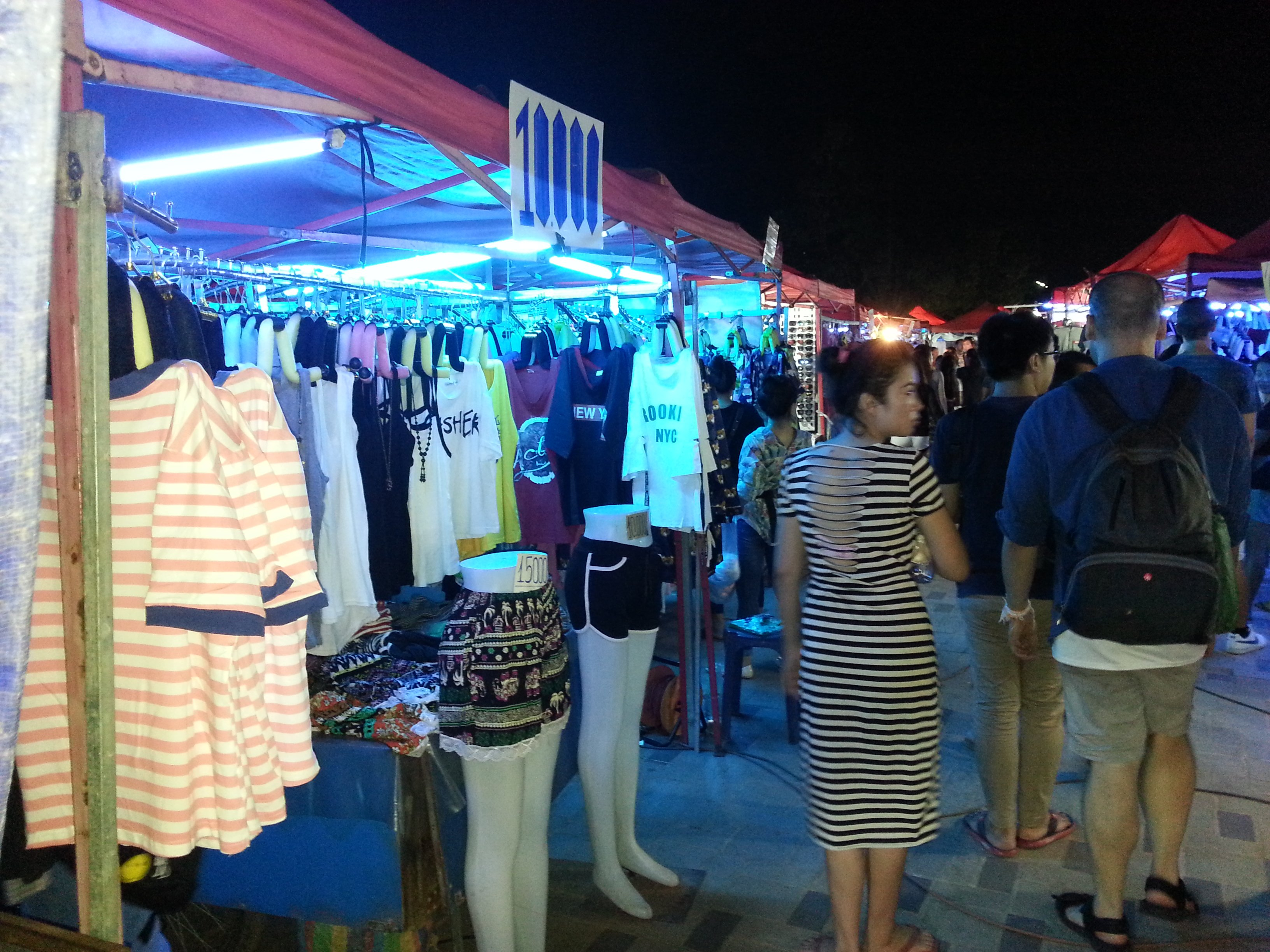 Clothes stalls at Vientiane Night Market