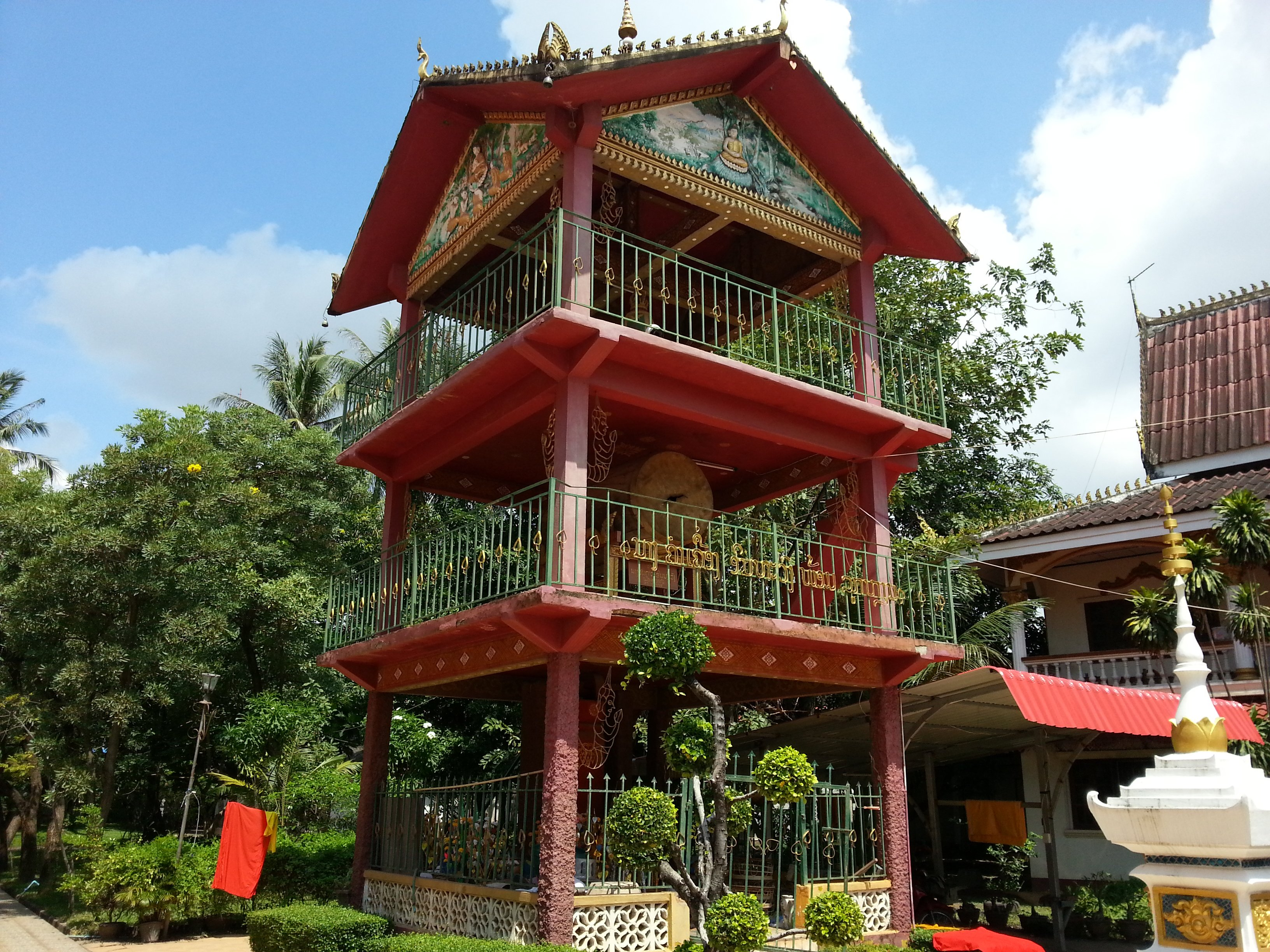 Three storey drum tower at Wat Chanthaboury