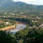 Luang Prabang's old bridge seen from Phousi Hill