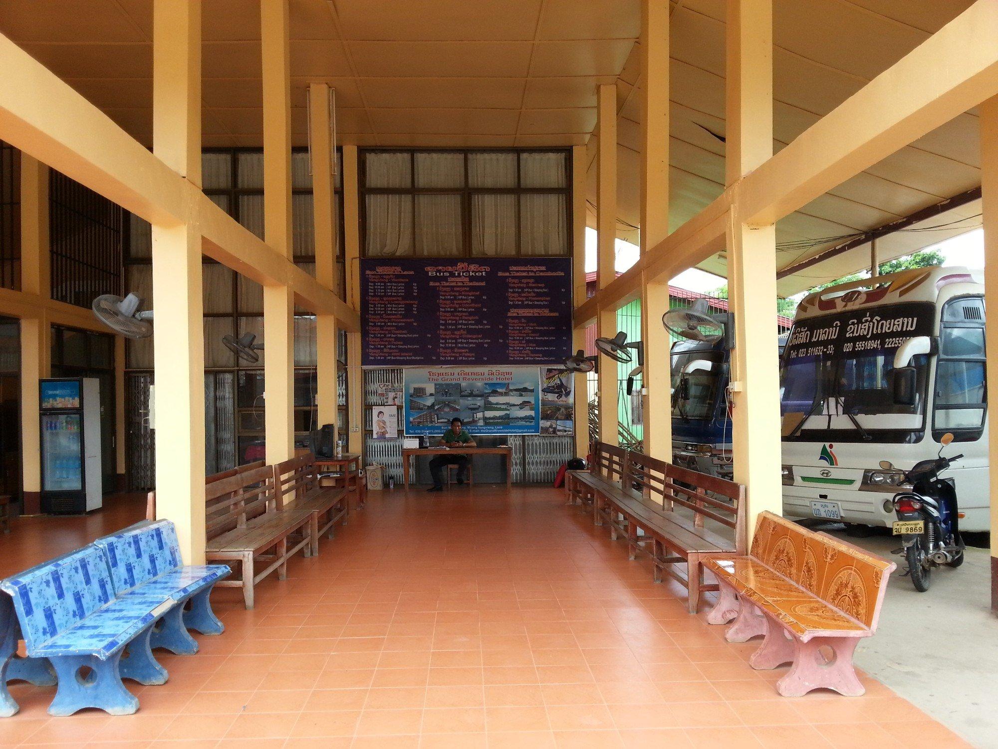 Waiting area at Vang Vieng South Bus Terminal