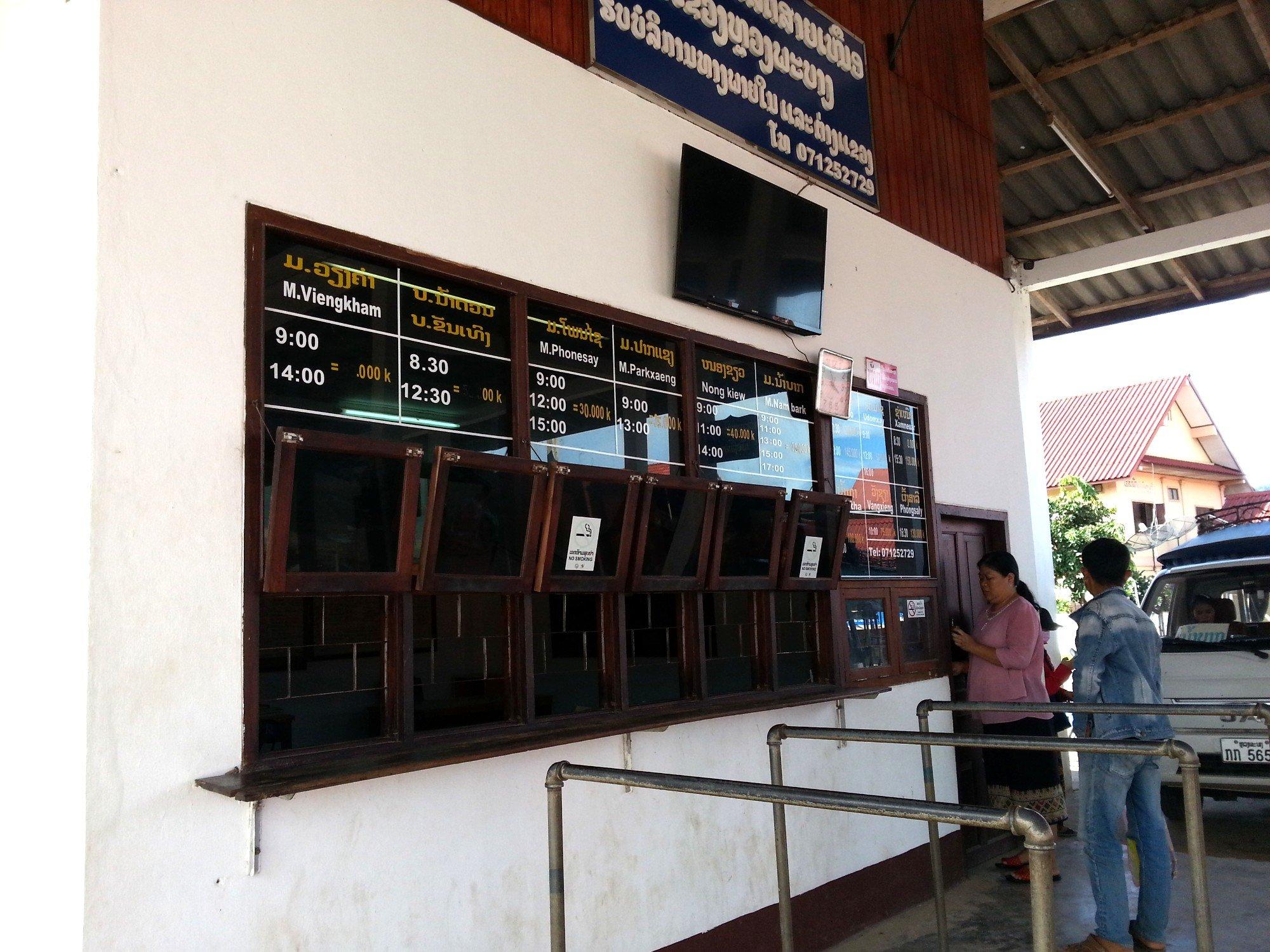 Ticket counter at Luang Prabang Northern Bus Station