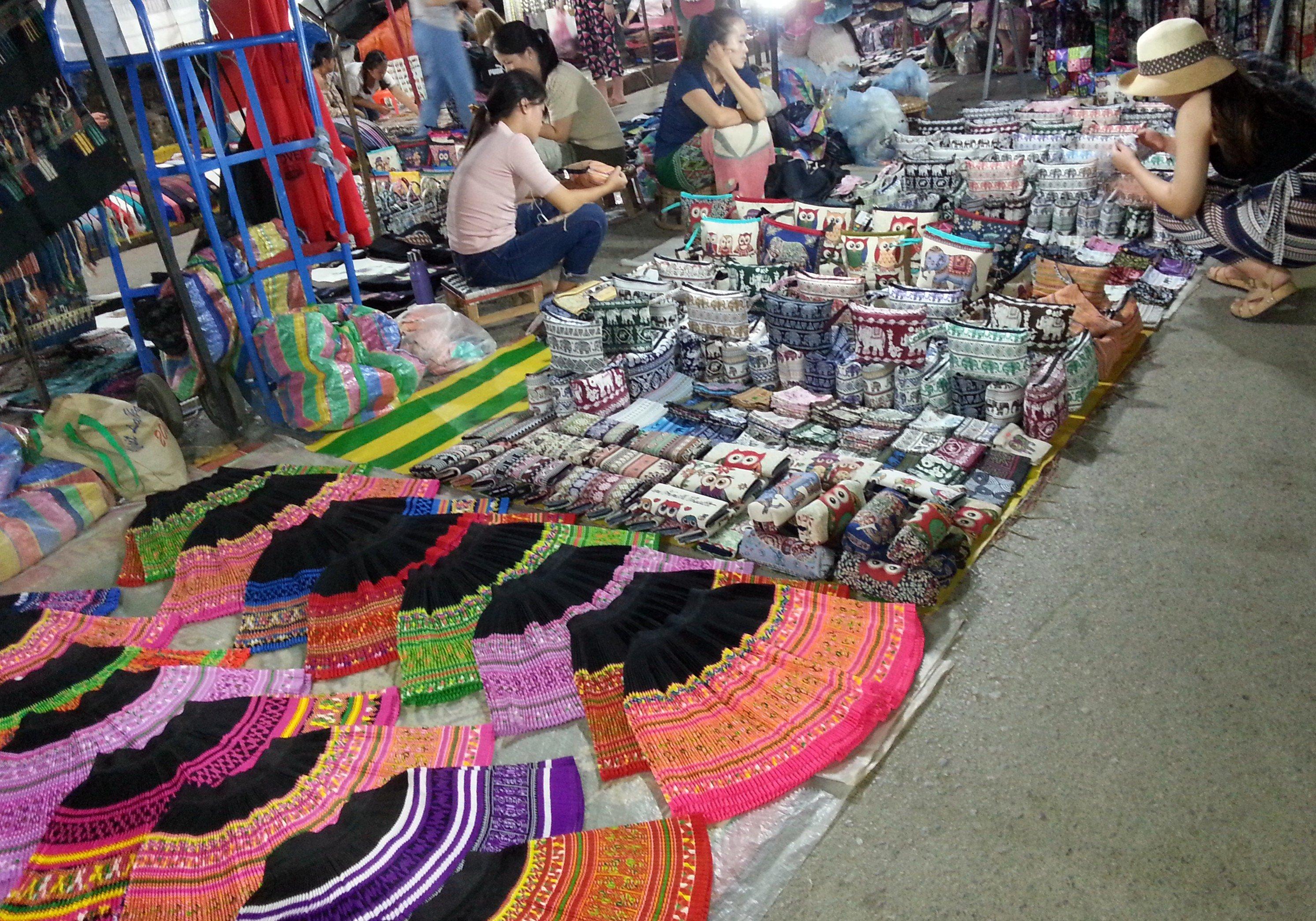 Hill tribe fabrics at Luang Prabang Night Market