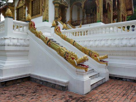Naga staircase at Haw Pha Bang Temple