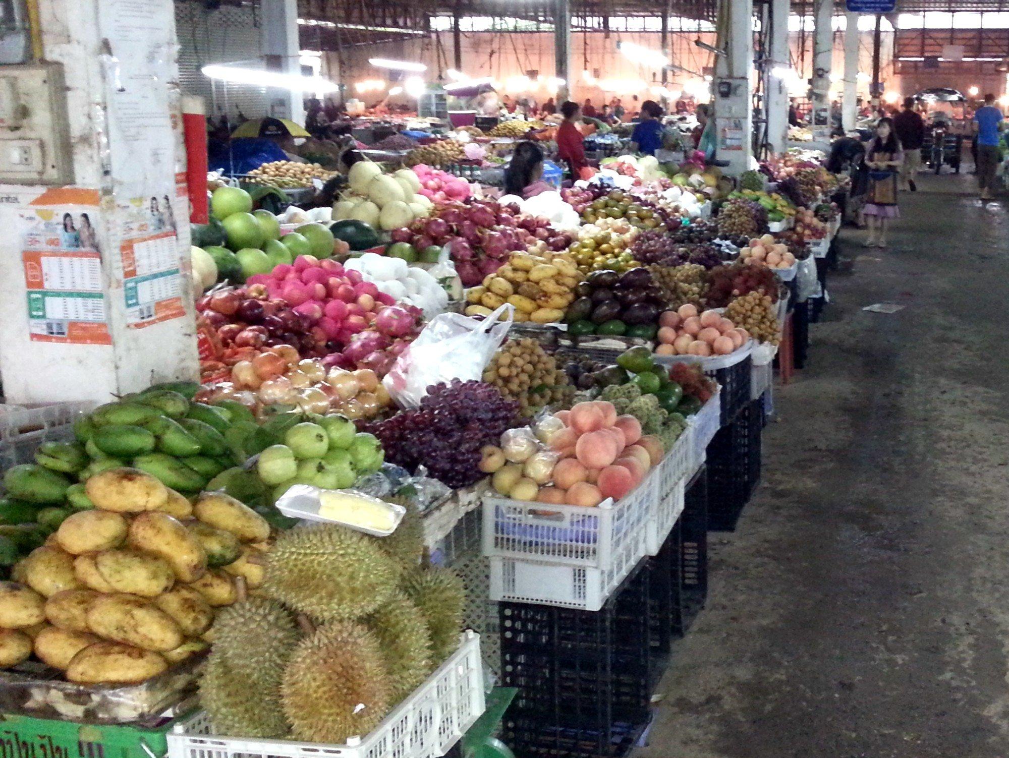 Vegetable section at Phoukam Garden Agriculture Wet Market