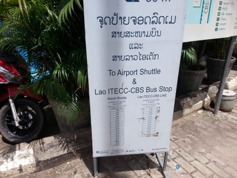 Airport shuttle timetable at Vientiane Central Bus Station