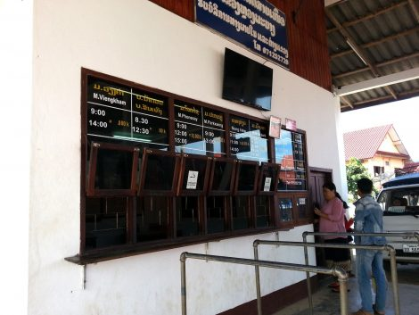 Ticket counter at Luang Prabang Northern Bus Station