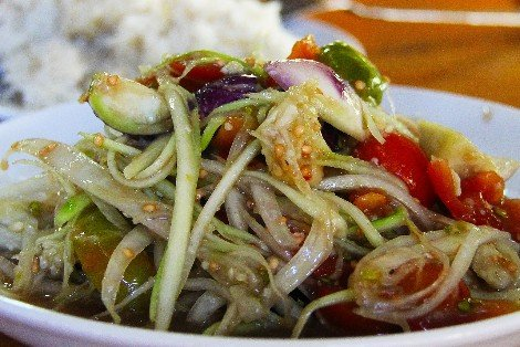 Tam som is the Lao name for green papaya salad