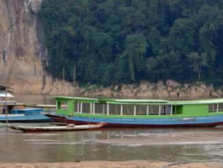 Passenger boat on the Mekong River in Laos